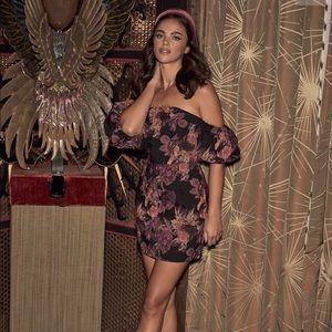 Lulus Black Floral Print Off-The-Shoulder dress